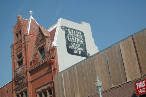 """From the walking tour info: """"This building was erected in 1889 by Silas Garber, fourth governor of Nebraska and prototype of Captain Forrester in A Lost Lady. Restored by the Cather Foundation, the bank displays the original Colorado Sandstone frontage, along with native Red Cloud brick."""""""
