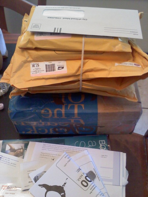 Books in the mail, waiting for me when I got home