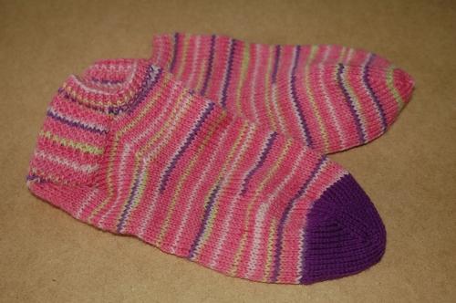 Pink handknit socks