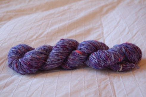 skein of bluepurple sparkle singles