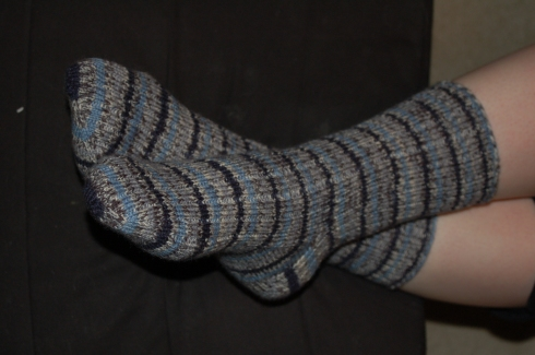 Blue stripes ribbed socks