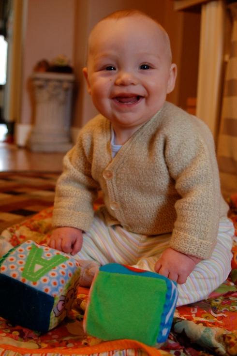 Asa in heirloom crocheted sweater